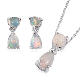 Ethiopian Welo Opal (Pear) Pendant With Chain and Earrings (with Push Back) in Platinum Overlay Sterling Silver 2.000 Ct.