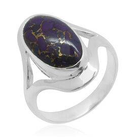Royal Bali Collection Mojave Purple Turquoise (Ovl) Solitaire Ring in Sterling Silver 8.370 Ct.