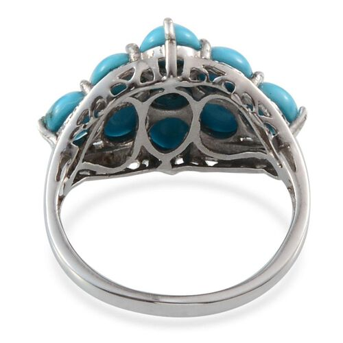 Arizona Sleeping Beauty Turquoise (Rnd), Diamond Ring in Platinum Overlay Sterling Silver 3.760 Ct.