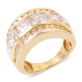 J Francis - 14K Gold Overlay Sterling Silver (Sqr) Half Eternity Band Ring Made with SWAROVSKI ZIRCONIA