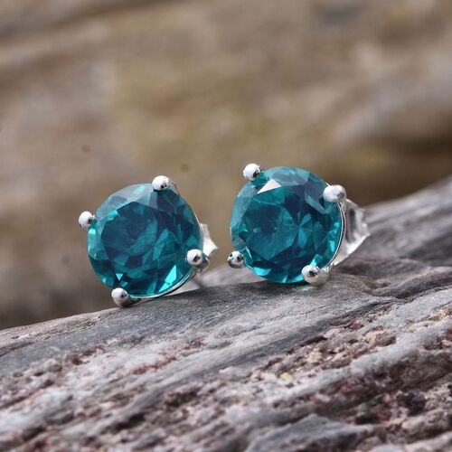 Capri Blue Quartz (Rnd) Stud Earrings (with Push Back) in Sterling Silver 4.500 Ct.