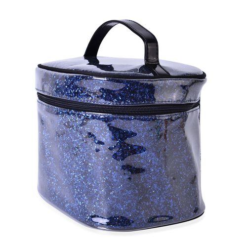 Dark Blue Colour PVC Cosmetic Bag (Size 23x16x16 Cm)
