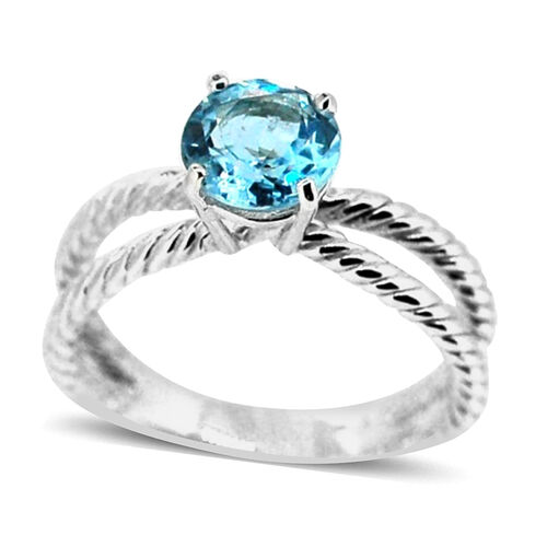 Sky Blue Topaz (Rnd) Solitaire Ring in Sterling Silver 2.500 Ct.