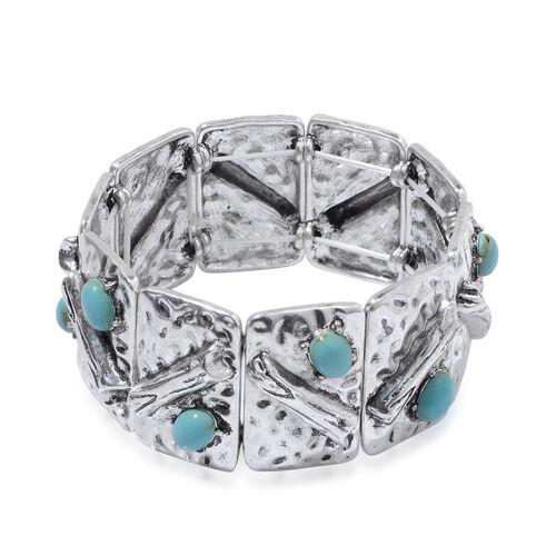 Blue Howlite Bracelet in Silver Tone (Size 7) 9.500 Ct.