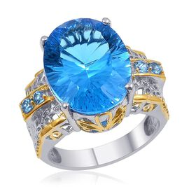 Electric Blue Topaz (Ovl 19.25 Ct) Ring in 14K YG and Platinum Overlay Sterling Silver 19.580 Ct.