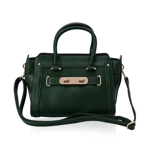 Green Colour Tote Bag with External Zipper Pocket and Adjustable and Removable Shoulder Strap (Size 32x22x9 Cm)