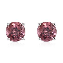 9K White Gold 1 Carat AA Pink Tourmaline Round Solitaire Stud Earrings (with Push Back).