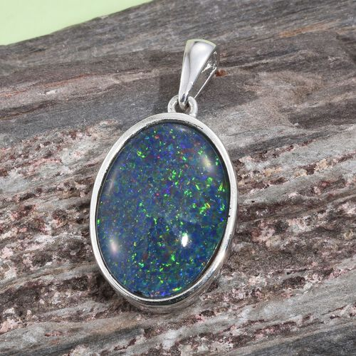 Limited Edition- Rare Size AAA Australian Boulder Opal  (Oval 18x13 mm) Pendant in Platinum Overlay Sterling Silver 6.750 Ct.