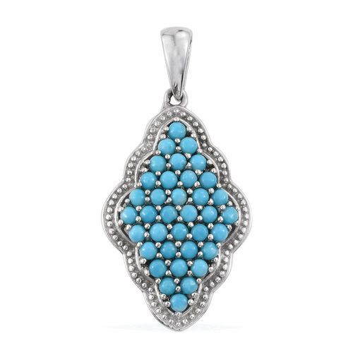 Arizona Sleeping Beauty Turquoise (Rnd) Pendant in Platinum Overlay Sterling Silver 1.750 Ct.