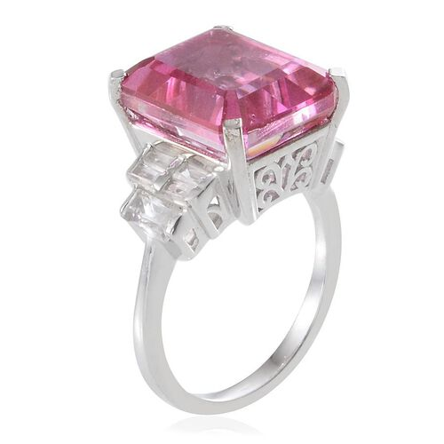 Kunzite Colour Quartz (Oct 11.75 Ct), White Topaz Ring in Platinum Overlay Sterling Silver 13.000 Ct.