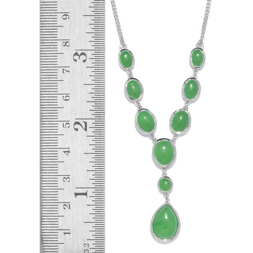 Green Jade (Pear 6.55 Ct) Necklace (Size 18) in Platinum Overlay Sterling Silver 20.250 Ct.