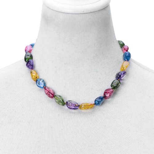 AAA Multi Colour Austrian Crystal Necklace (Size 18) and Bracelet (Size 7.5) in Silver Tone