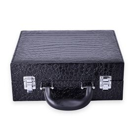 Black Colour Croc Embossed Jewellery Box with 5 Pcs Makeup Brushes and 6 LED Lights and Mirror Inside (Size 28.5x23.8x11 Cm)