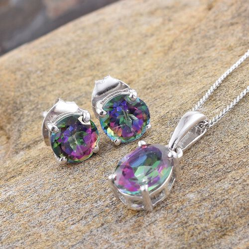 Northern Lights Mystic Topaz (Ovl 1.25 Ct) Solitaire Pendant With Chain and Stud Earrings (with Push Back) in Platinum Overlay Sterling Silver 3.250 Ct.