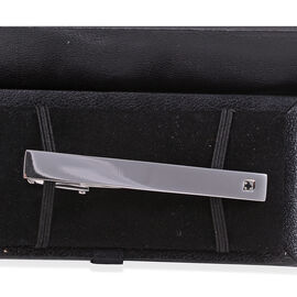 Close Out Deal AAA Simulated Black Spinel (Rnd) Tie-Clip in Stainless Steel
