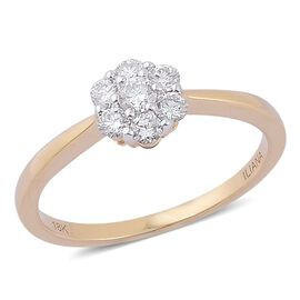 ILIANA 18K Yellow Gold 0.50 Carat Diamond 7 Stone Ring IGI Certified SI G-H.