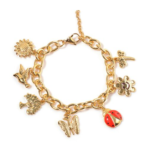 ION Plated Yellow Gold Stainless Steel Dragonfly, Sun, Lady Bird, Butterfly, Tree, Bird and Sunflower Charm Enameled Bracelet (Size 7.5)