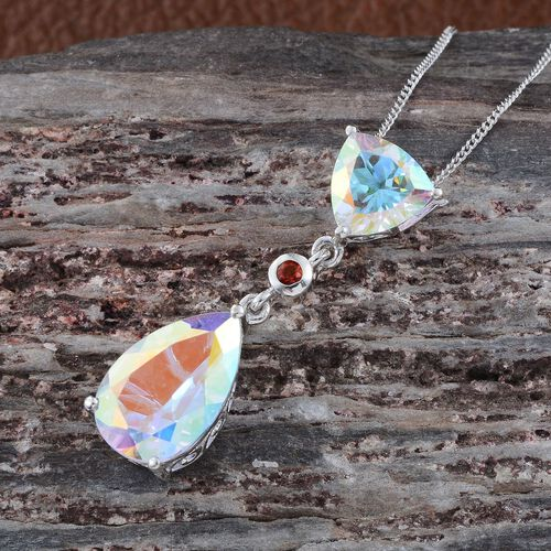 Mercury Mystic Topaz (Pear 5.48 Ct), Jalisco Fire Opal Pendant With Chain in Platinum Overlay Sterling Silver 7.250 Ct.