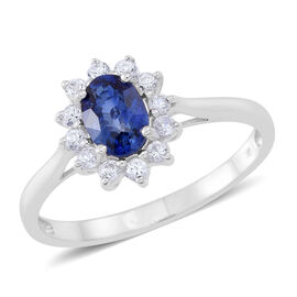 9K W Gold AAA Ceylon Blue Sapphire (Ovl 1.00 Ct), Natural Zircon Ring 1.500 Ct.