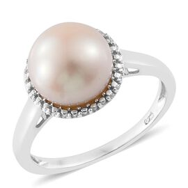 Pearl Solitaire Silver Ring in Platinum Overlay