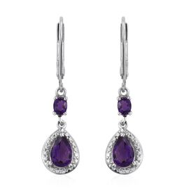 Amethyst (Pear) Lever Back Earrings in Platinum Overlay Sterling Silver 1.500 Ct.