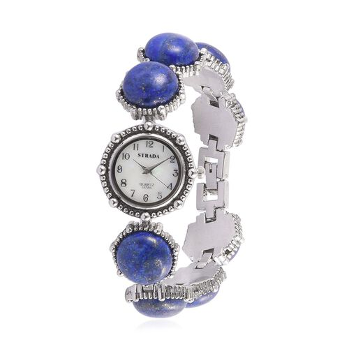 STRADA Japanese Movement White Dial Water Resistant Watch in Silver Tone with Stainless Steel Back and Lapis Lazuli Strap 88.000 Ct.