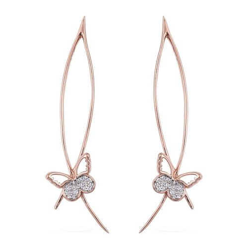 Kimberley Butterfly Collection Natural Cambodian Zircon (Rnd) Butterfly Earrings in Rose Gold Overlay Sterling Silver