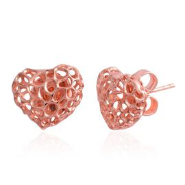 RACHEL GALLEY Rose Gold Overlay Sterling Silver Amore Heart Stud Earrings (with Push Back)