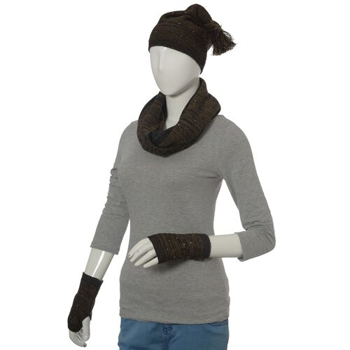 Black and Chocolate Colour Knitted Snood (Size 75x30 Cm), Hand Gloves and Cap with Sequins