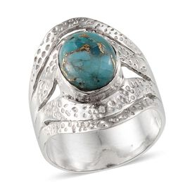Jewels of India Blue Copper Turquoise (Ovl) Ring in Sterling Silver 2.610 Ct.