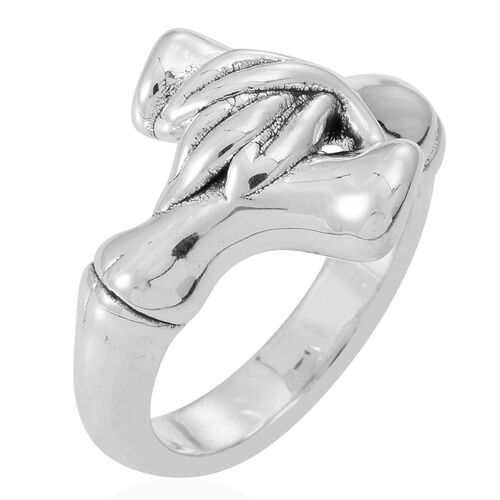Statement Collection Sterling Silver Crossover Ring, Silver wt 5.76 Gms.