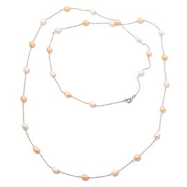 Fresh Water Peach and White Pearl Necklace (Size 48) in Silver Tone