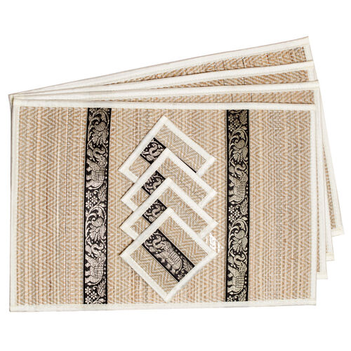 Traditional Thai Pattern Cream Bamboo Wicker Placemat (12x18) and Coaster (5x5) Set