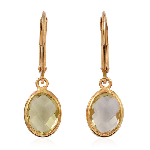 Checkerboard Cut Lemon Quartz Lever Back Earrings in 14K Gold Overlay Sterling Silver 3.000 Ct.
