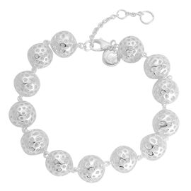 RACHEL GALLEY Rhodium Plated Sterling Silver Memento Disc Bracelet (Size 7 with 1 inch Extender), Silver wt 20.00 Gms.