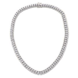 J Francis - Platinum Overlay Sterling Silver (Rnd) Necklace (Size 18) Made with SWAROVSKI ZIRCONIA 42.780 Ct.