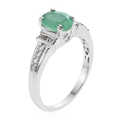 14K W Gold Boyaca Colombian Emerald (Ovl 1.10 Ct), Diamond Ring 1.250 Ct.
