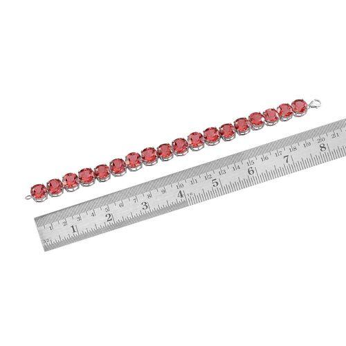 Padparadscha Colour Quartz (Rnd) Bracelet in Platinum Overlay Sterling Silver (Size 7.75) 77.000 Ct.