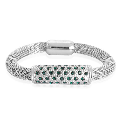 Green Austrian Crystal Bracelet in Stainless Steel (Size 8.5)