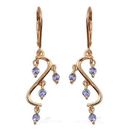 Tanzanite (Rnd) Lever Back Earrings in 14K Gold Overlay Sterling Silver 0.500 Ct.