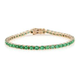 9K Yellow Gold 7 Carat Boyaca Colombian Emerald Tennis Bracelet Size 7.5.