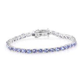 Tanzanite (Ovl) Bracelet (Size 6.5) in Platinum Overlay Sterling Silver 5.500 Ct.