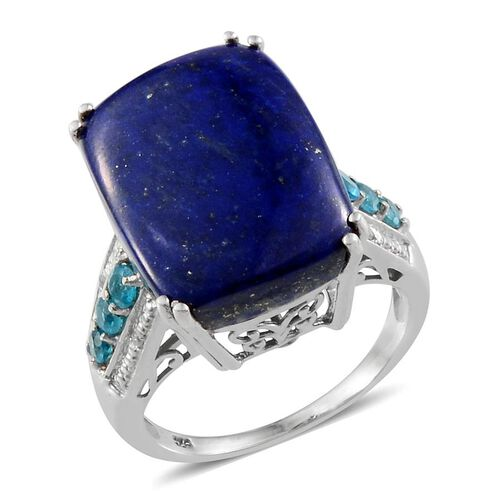 Lapis Lazuli (Cush 18.00 Ct), Malgache Neon Apatite and Diamond Ring in Platinum Overlay Sterling Silver 18.520 Ct.