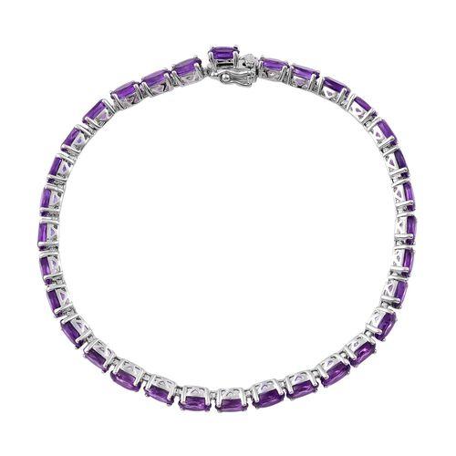 African Amethyst (Ovl) Bracelet (Size 7.5) in Platinum Overlay Sterling Silver 13.500 Ct.