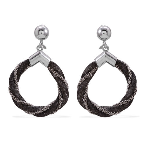 Close Out Deal Black and White Plated Sterling Silver Earrings (with Push Back), Silver wt 10.75 Gms.