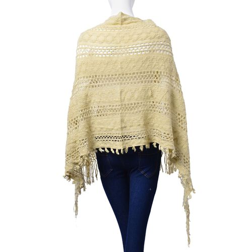 Cream Colour Poncho with Tassel (Size 65 Cm)