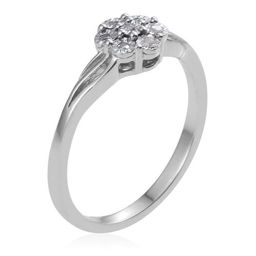 Diamond (Rnd) 7 Stone Floral Ring in Platinum Overlay Sterling Silver 0.050 Ct.
