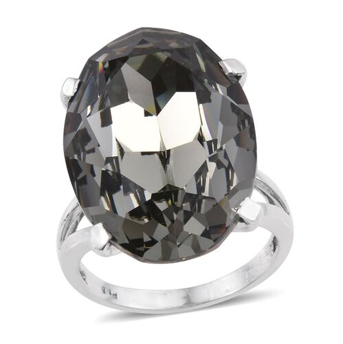J Francis Crystal from Swarovski - Black Diamond Crystal (Ovl) Ring in ION Plated Platinum Bond