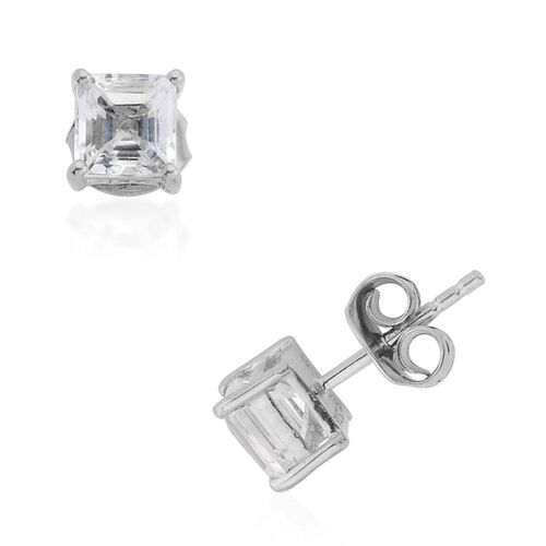 Golconda Diamond Topaz (Oct) Stud Earrings in Platinum Overlay Sterling Silver 1.57 Ct.