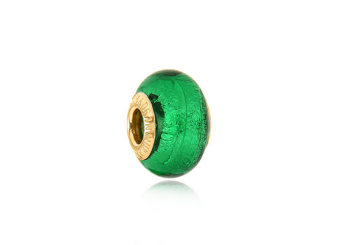 Close Out Deal 9K Y Gold Emerald Colour Murano Glass Bead Charm